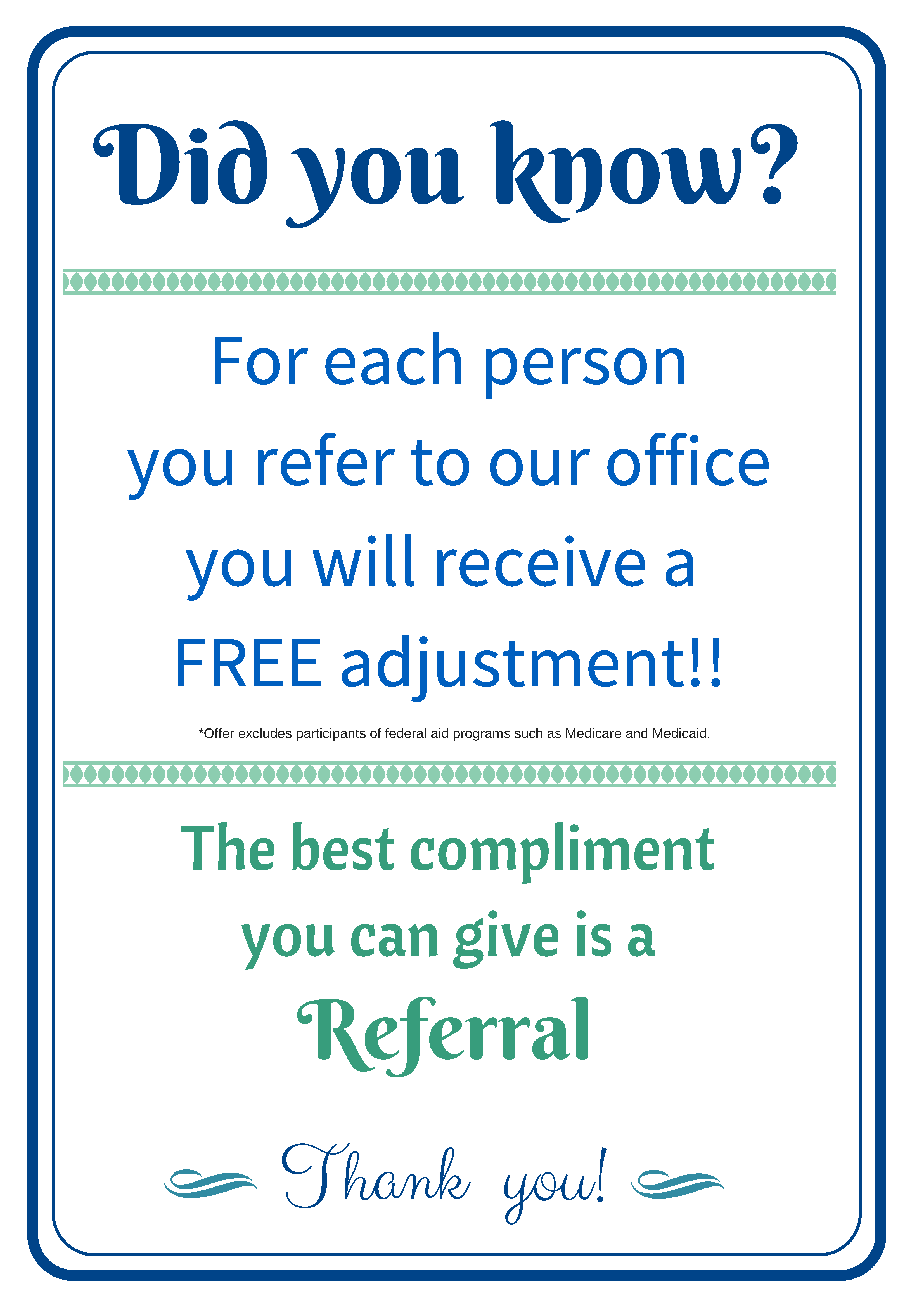 Referral sign